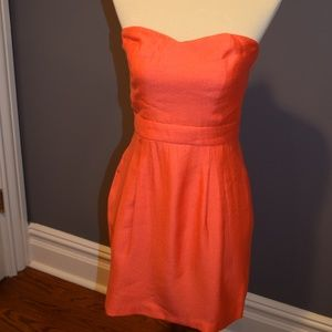 Bright Orange Strapless Dress